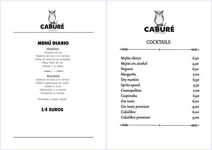 menu diario y cocteles cabure