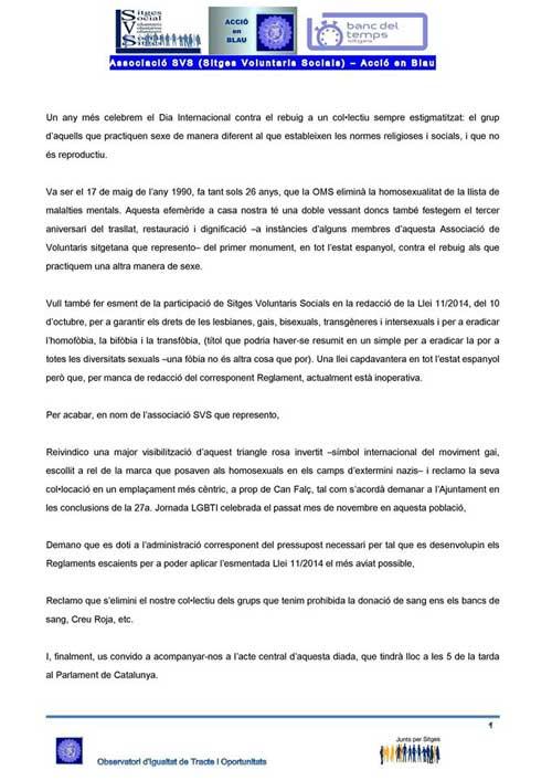 manifiesto homofobia sitges 2016