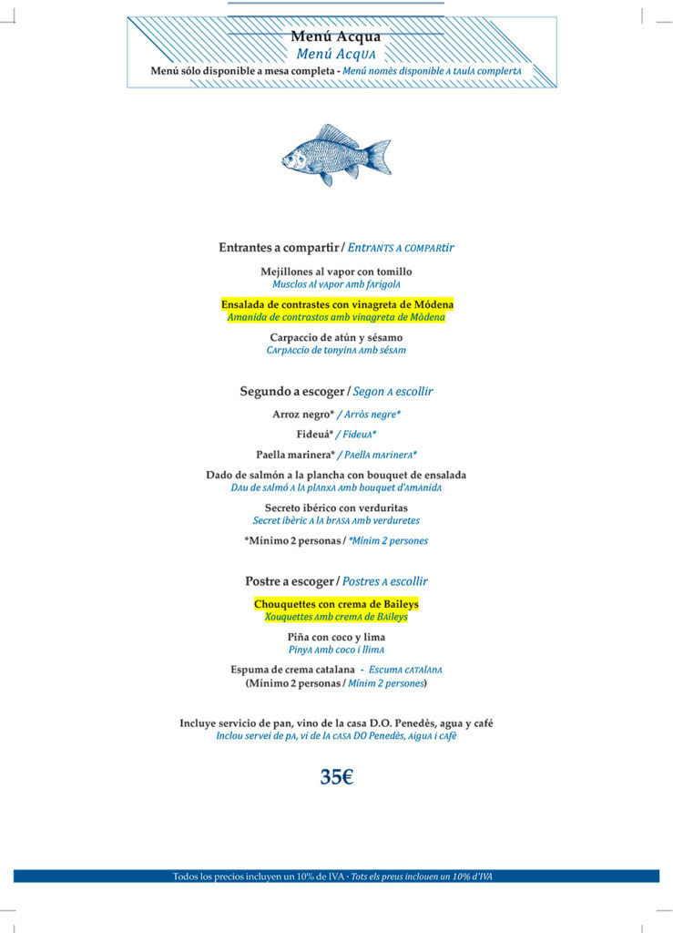 menu Restaurante Acqua